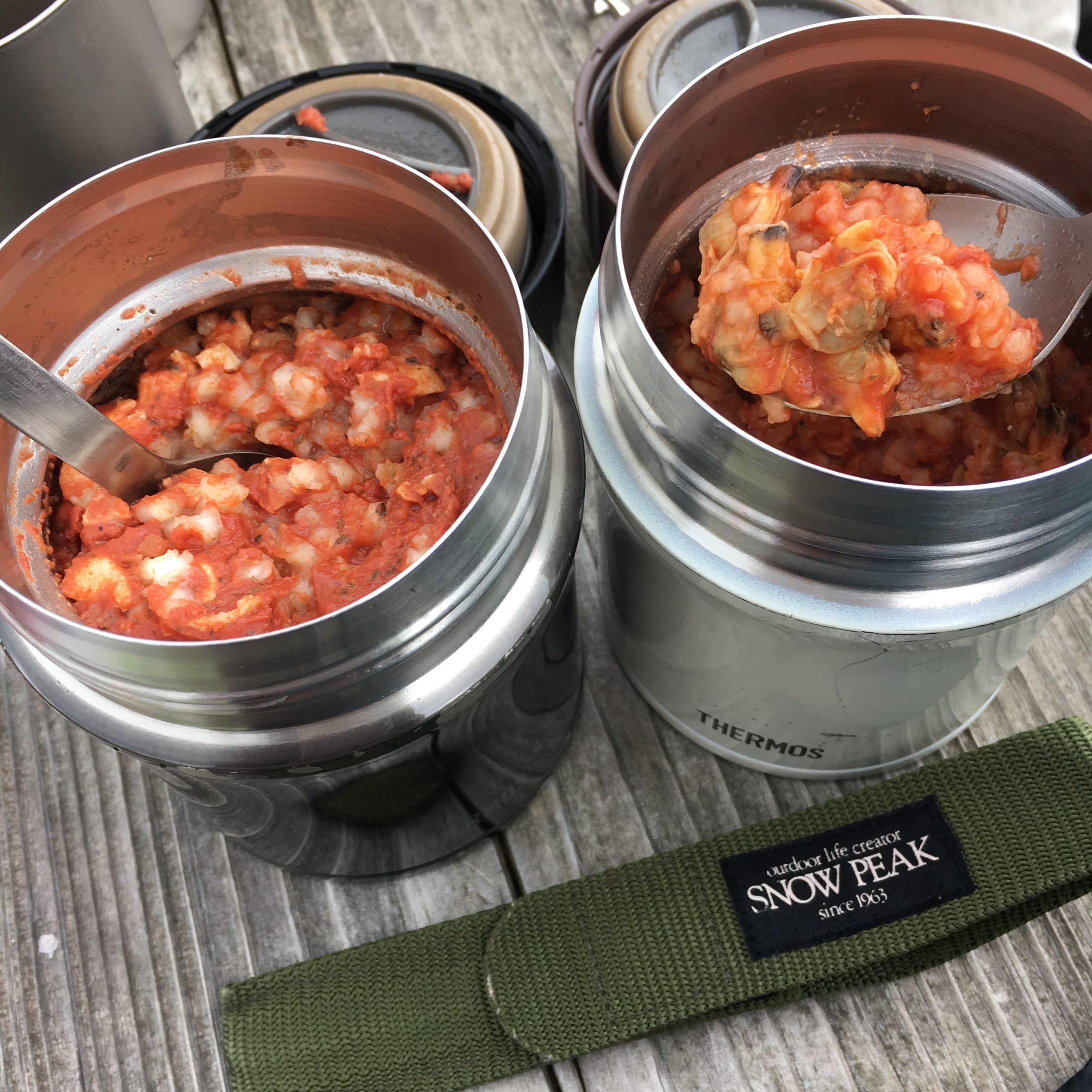 【登山のご飯 簡単で美味しいレシピ】スープジャーを活用 2種類のトマトリゾット編